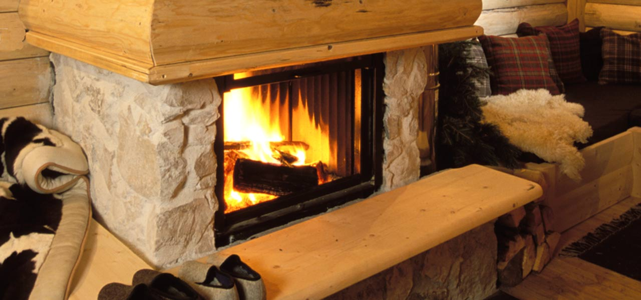 Lit fire place