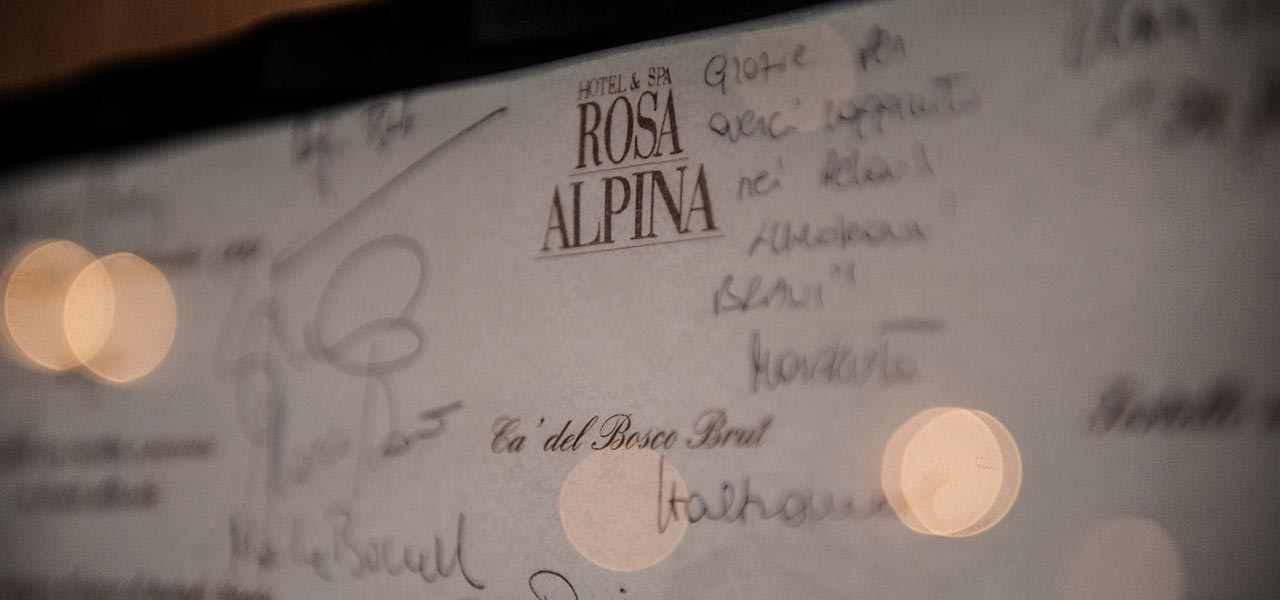 Signatures in the guest book of Rosa Alpina Hotel