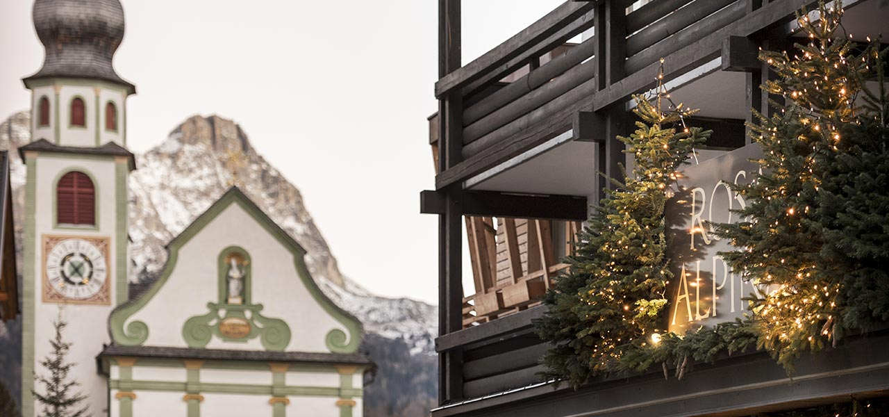 The Rosa Alpina Hotel with christmas decoration and illumination