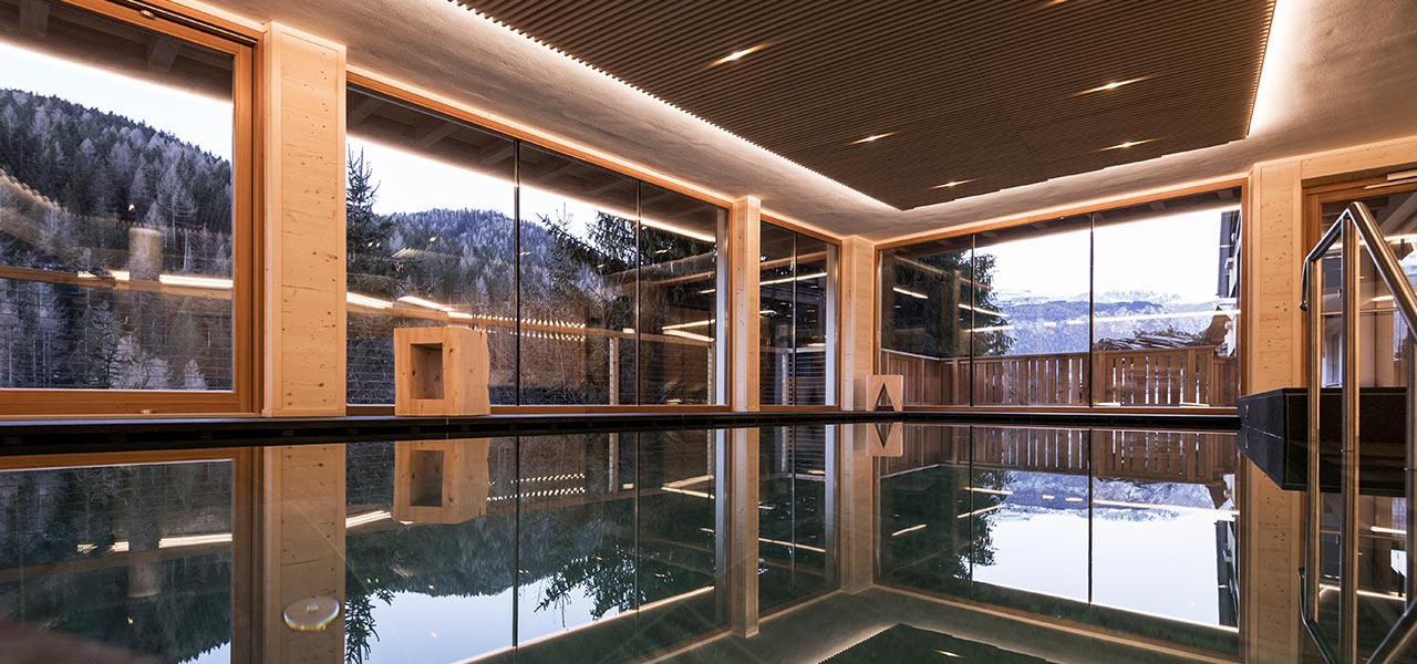 The glass windows facing the woods in the wellness area are reflected in the pool
