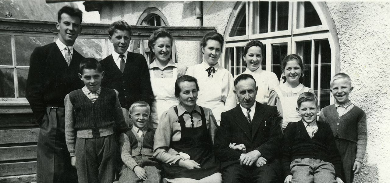 The Family of Hotel Rosa Alpina in a historical black and white picture