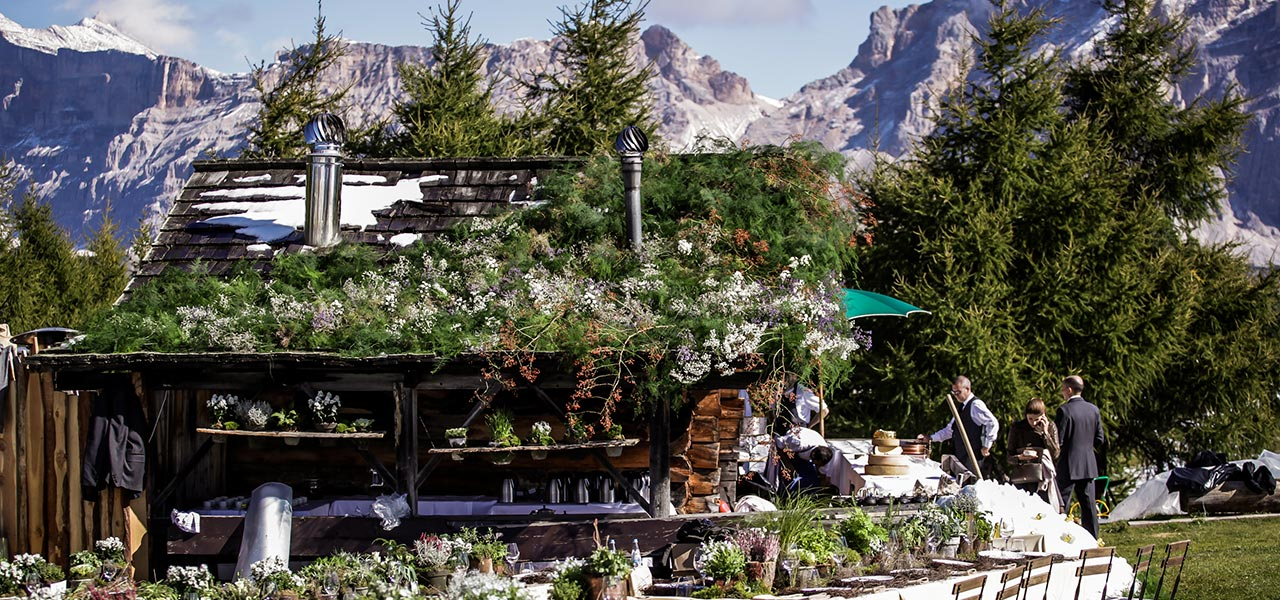 Decorated mountain hut for wedding outdoors