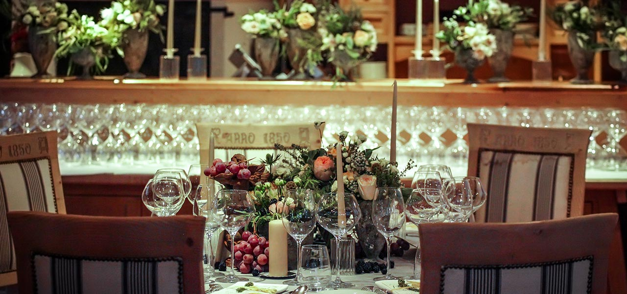 Decorated wedding table indoors